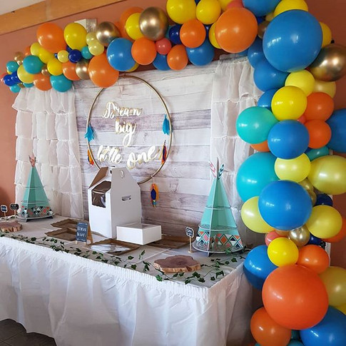 Balloon garland we created yesterday to