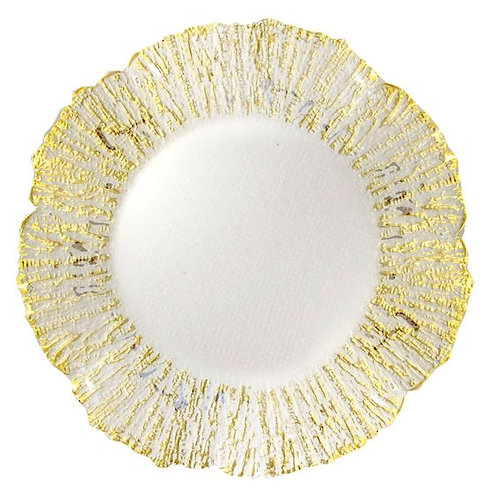 Gold Rimmed Sponge Glass Charger
