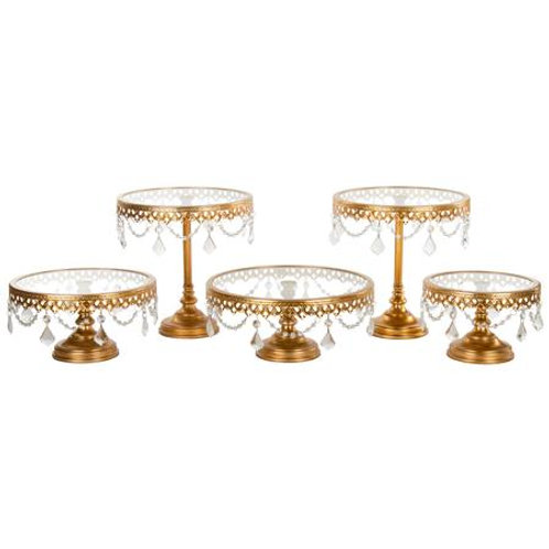 5pc Gold & Crystal Cake Stand Set