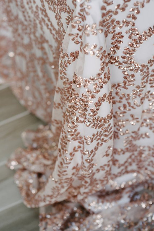 "90"" Rose Gold Vine Tablecloth"
