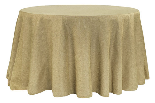 "132"" Faux Burlap Tablecloth"