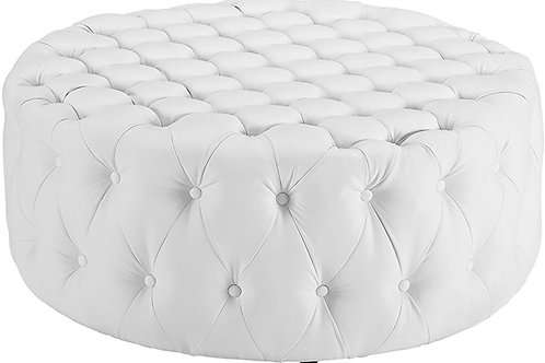 Large White Leather Ottoman