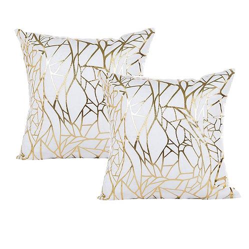 """18"""" White/Gold Geometric Throw Pillow"""