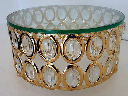 """11.5"""" Gold & Crystal Cake Stand"""