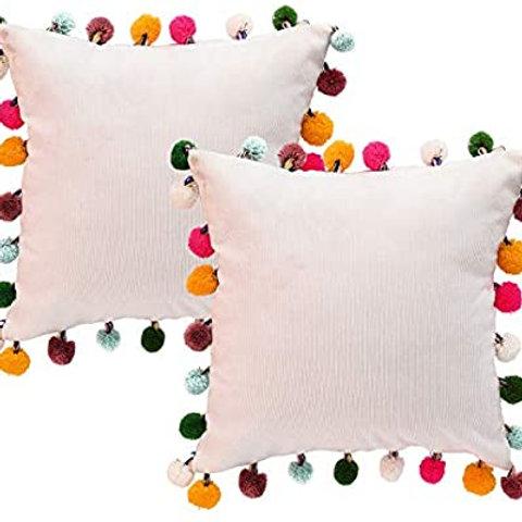 """18"""" x 18"""" Pom Pom Pillow"""