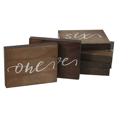 Wooden Table Numbers (Set of 15)