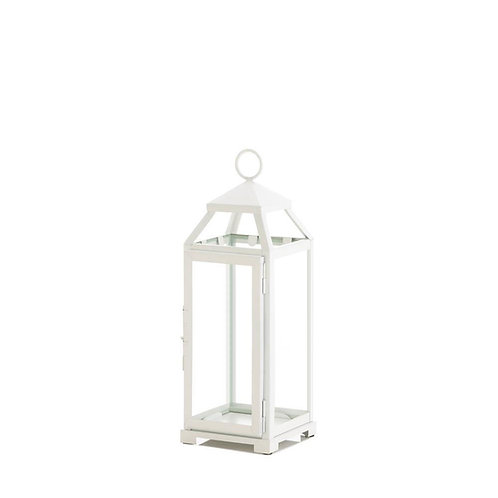 "19"" White Open Top Lantern"