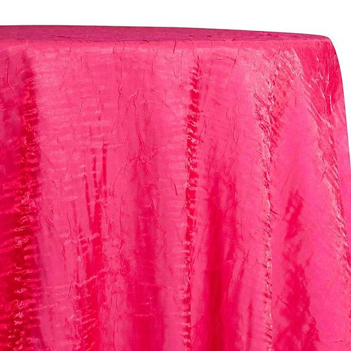 "Fuchsia 90"" x 156"" Crushed Shimmer Iridescent Tablecloth"