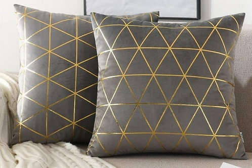 "18"" Grey/Gold Geometric Pillow"