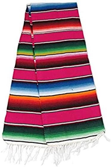 Mexican Serape Blanket Table Runner - Pink