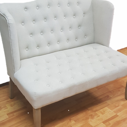 Beige Tufted Loveseat