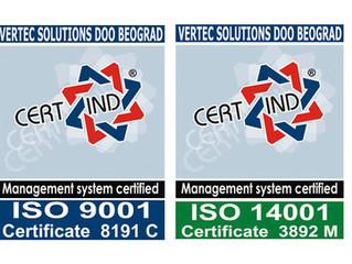 Vertec Solutions primenjuje najviše standarde kvaliteta, garantovane sertifikatima ISO 9001, 14001,1