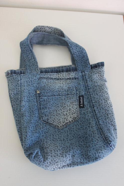 Tasje met leuke print van old jeans, reversible