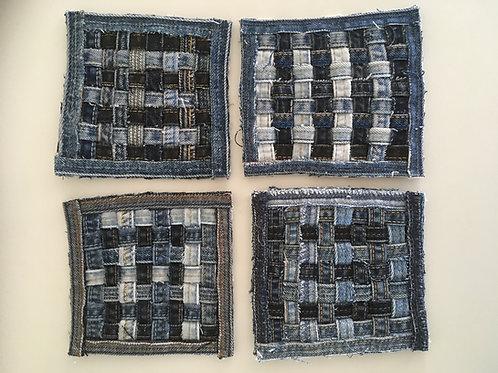 Vierkante onderzetters van oude jeans