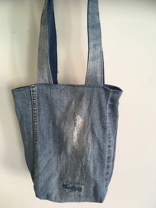 Tas van old jeans - met slijtplekken