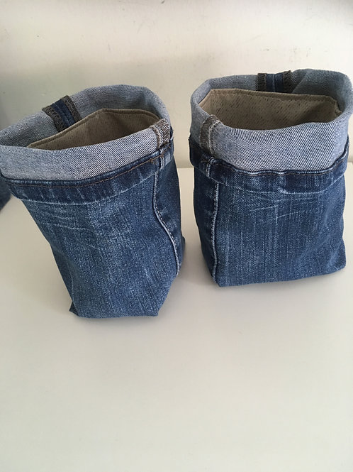Set van twee opbergbakjes van old jeans