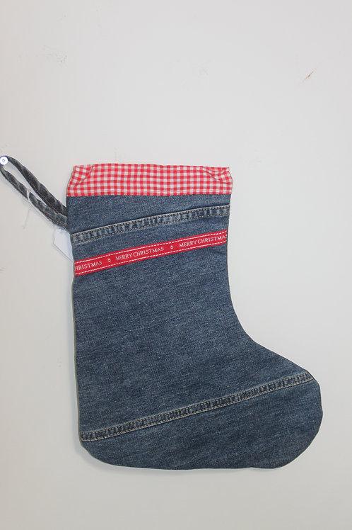 Kerstsok van oude jeans