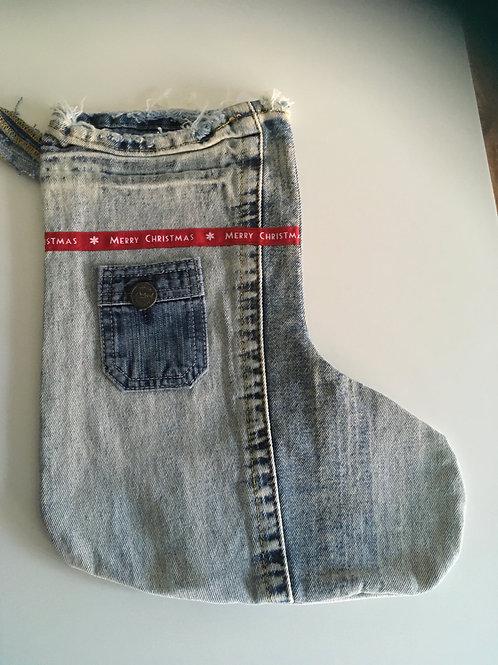 Kerstsok van een oude jeans