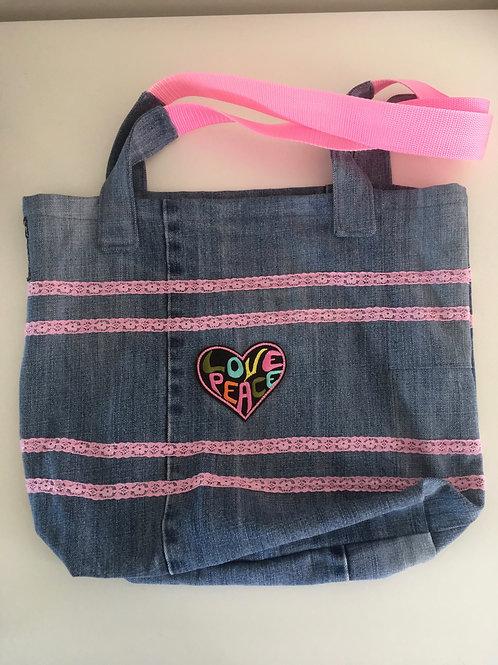 """Tas van old jeans """"love & peace'"""