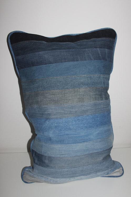 Kussen old jeans strepen