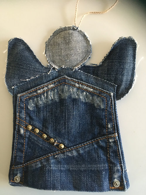 Engel van oude jeans-achter zak