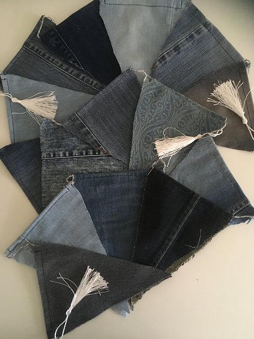 Vlaggenlijn van ca. 300 cm van oude jeans