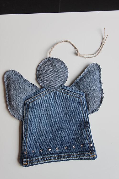 Engel van oude jeans achterzak gemaakt