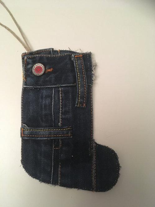 Kerstlaarsje van oude spijkerbroek