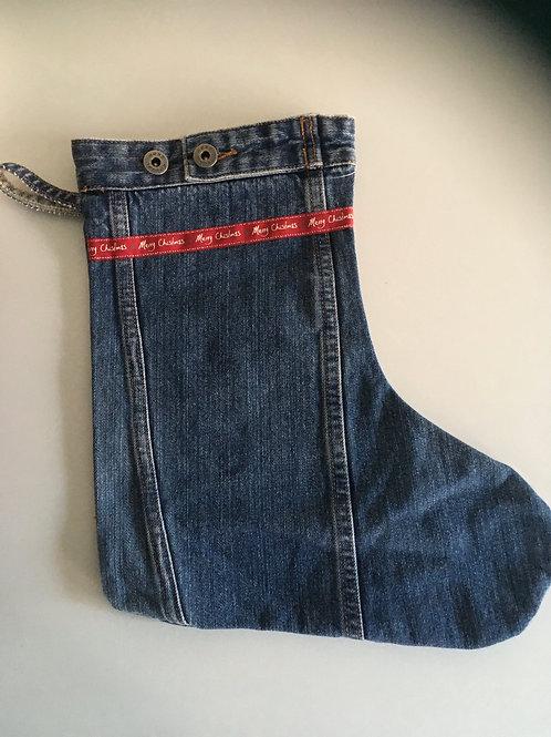 Kerst sok van een oude spijkerbroek