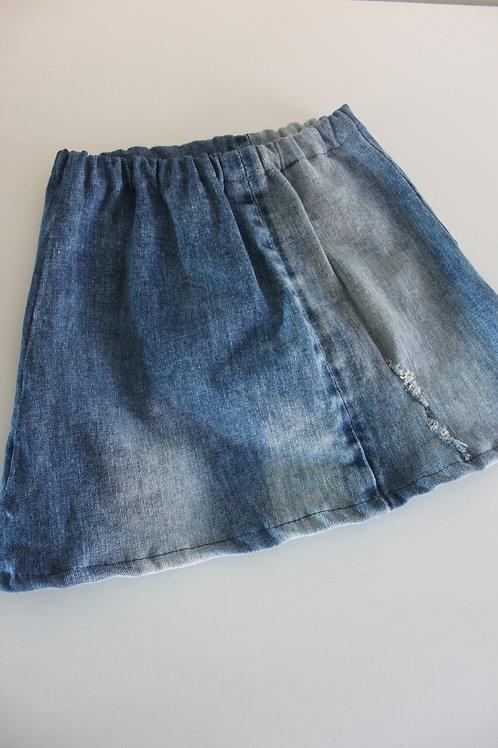 Rokje (maat 134) van oude jeans.