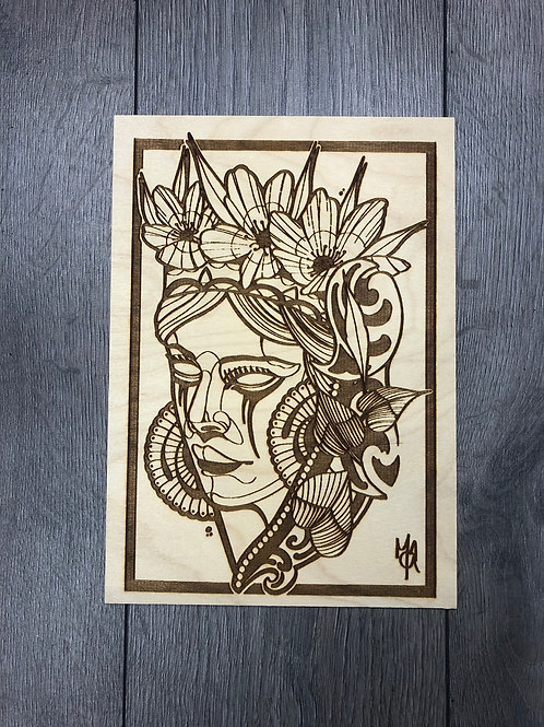 NeoTraditional lady on plywood