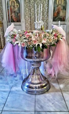Γιρλάντα με διάφορα λουλούδια σε ροζ απο