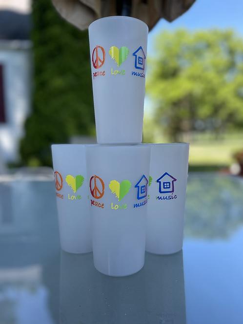 Rainbow Peace, Love, House Music set of 4 cups