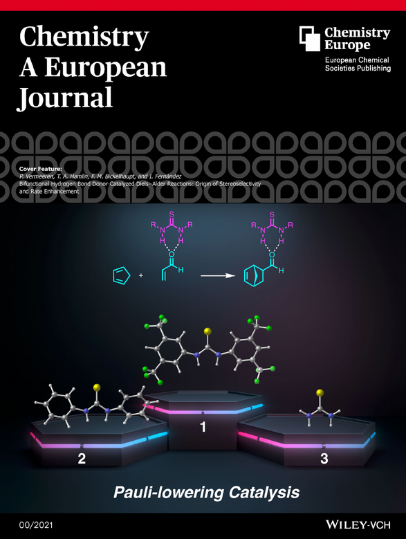(Thio)ureas have found numerous applications as organocatalysts, yet their mode of action, that is, the mechanism by which they accelerate reactions is still not fully understood. In this work, quantum chemical activation strain analyses reveal that these bifunctional hydrogen bond organocatalysts accelerate the Diels–Alder reaction between cyclopentadiene and acrolein by reducing the two‐center four‐electron (steric) Pauli repulsion between the occupied π‐orbitals of the reactants and not by enhancing the donor–acceptor orbital interactions, as is traditionally considered. More information can be found in the Full Paper by P. Vermeeren, T.A. Hamlin, F.M. Bickelhaupt, and I. Fernández. (DOI: 10.1002/chem.202004496).