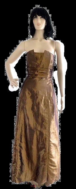 Vestido longo tafeta ouro velho