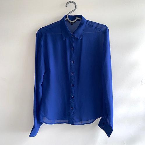 Camisa chiffon azul marinho