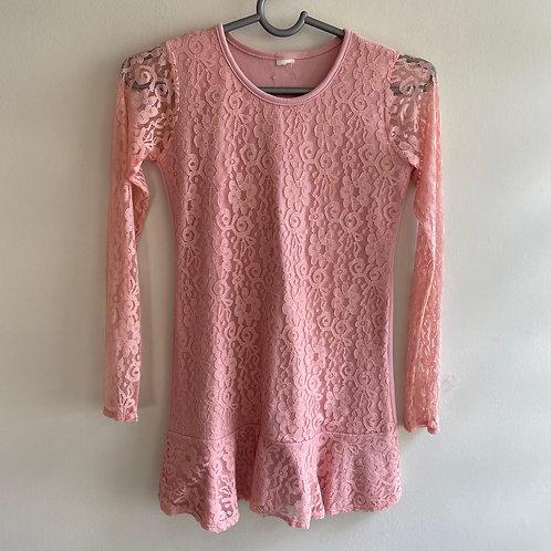 Vestido infantil renda rosa
