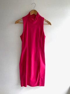 Vestido tubinho, pink, gola alta