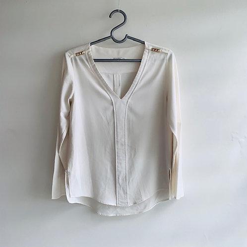 Blusa manga longa viscose offwhite