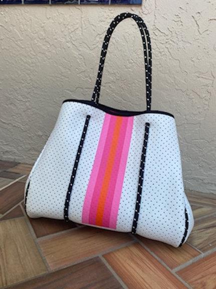 Parker + Hyde - White + Pink Stripe