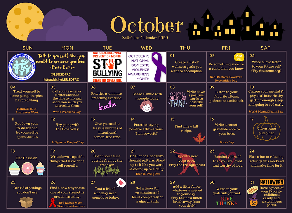October calendar with ideas for self care