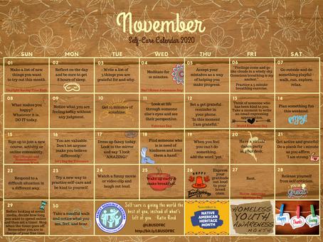November self-care calendars