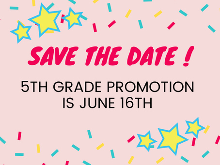 5th Grade Promotion is June 16th