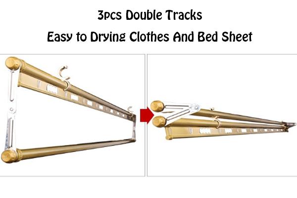 3Pcs Double Tracks Lifting Clothes Hanger