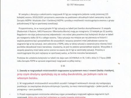 MKS Piaseczno chce grać. Decyzja w rękach działaczy MZPN. Trenować  można już od 18 maja.