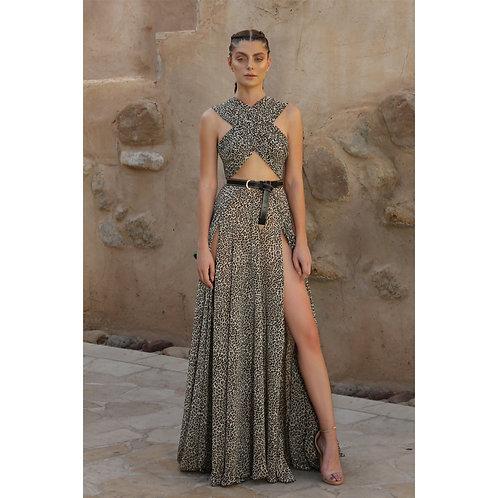 Animal Print Chiffon Dress (Size 36)