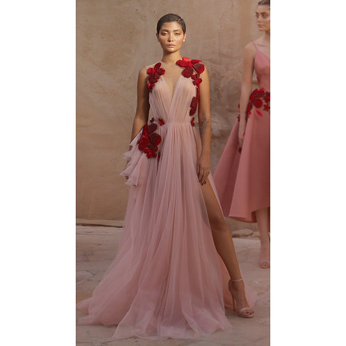Dusty Pink Tulle with Floral Handwork