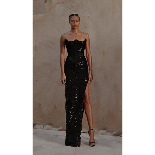 Black Sequin Fitted Dress (size 36)