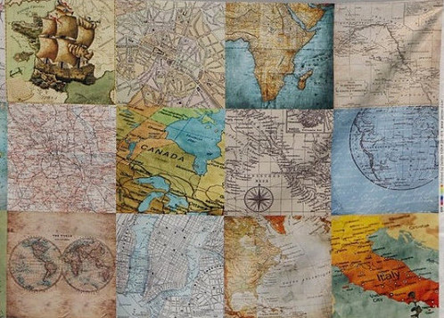 Vintage map pattern cotton 100 fabric by yard gumiabroncs Gallery