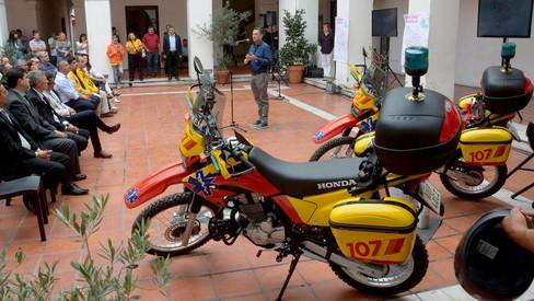 Presentaron las seis motoambulancias del 107 en Córdoba